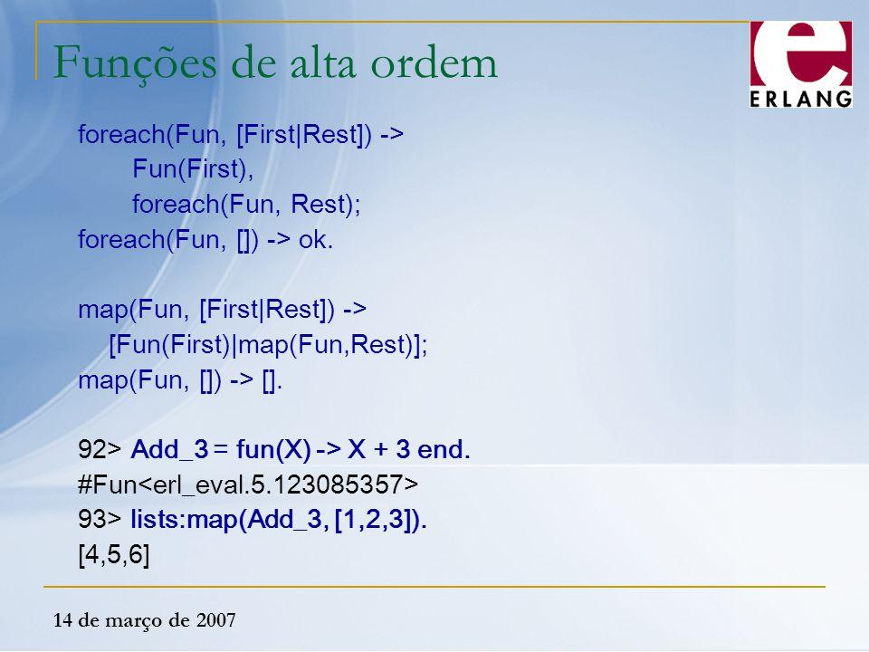 Funções de alta ordem foreach(Fun, [First|Rest]) -> Fun(First),
